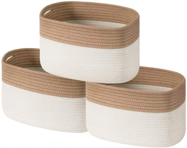 country baskets cotton rope set of 3