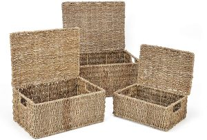 country baskets with lids brown